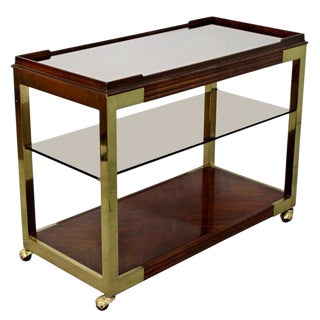1950s Mid-Century Modern Drexel Heritage Brass Wood Smoked Glass Bar Cart For Sale
