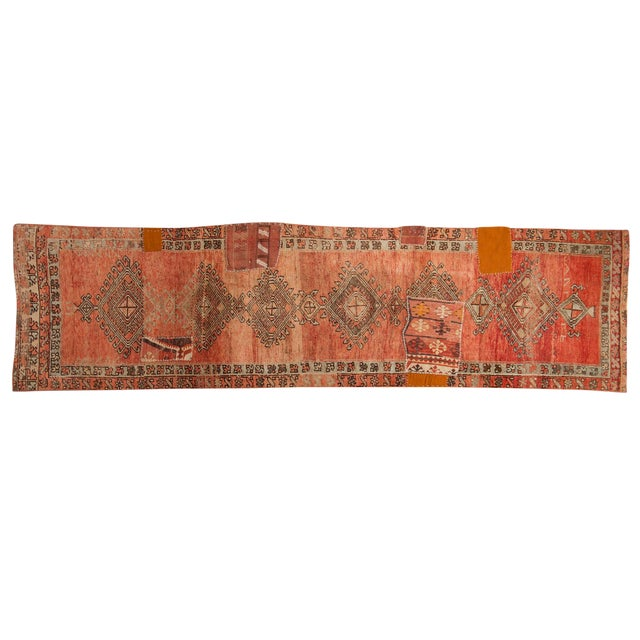 "Vintage Distressed Patchwork Oushak Rug Runner - 2'10"" X 10'7"" For Sale"