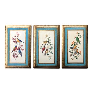 Mid-Century Gilt Florentine Wooden Bird Panels - Set of 3 For Sale