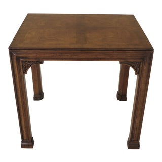 1980s Chippendale Henredon Oak & Walnut End Table For Sale