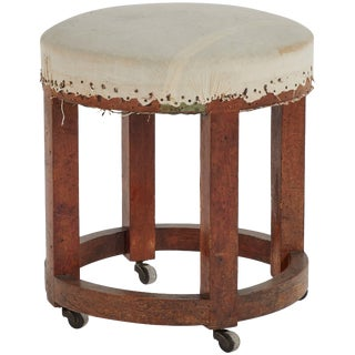 Wooden Stool Upholstered in Linen From Late 19th Century France For Sale