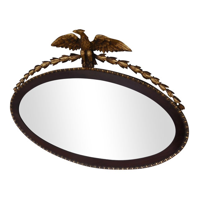 Antique Mahogany Federal Style Eagle Crested Mirror - Image 1 of 9