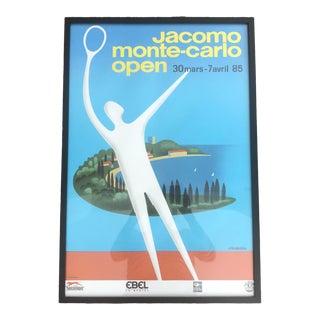 1980s Jacomo Monte Carlo Open, Fix-Masseau Framed Tennis Poster For Sale