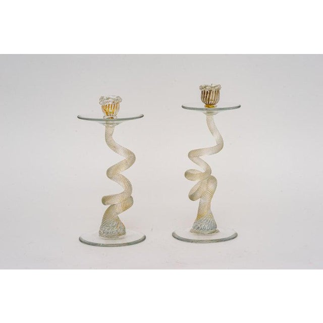 1980s Vintage Yellow Murano Candle Holders - a Pair For Sale - Image 5 of 13