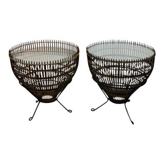 Pair of Mid Century Franco Albini Rattan and Black Iron End Tables For Sale