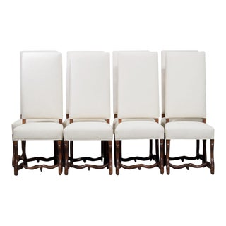 Set of 8 French Louis XIII Style Os de Mouton Dining Chairs