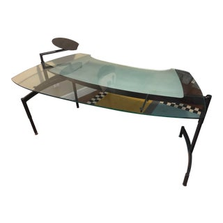 1980's Memphis Postmodern Glass and Steel Curved Desk For Sale
