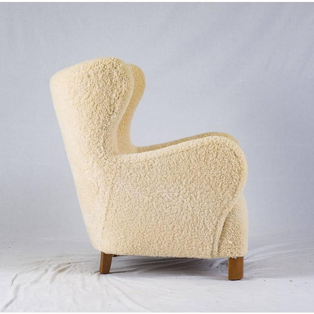 1940s Scandinavian Sheepskin Lounge Chair For Sale - Image 5 of 10