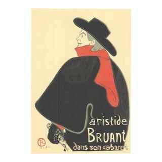 """HENRI DE TOULOUSE-LAUTREC Aristide Bruant dans son cabaret 13"""" x 9.5"""" Lithograph For Sale"""