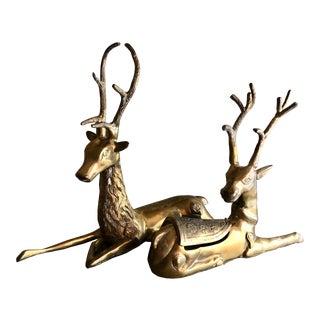 Vintage Large Recumbent Deer Pair Reindeer Antlers Boho Decor For Sale