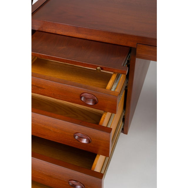 Gold Edward Wormley for Dunbar Walnut Executive Desk With Rosewood and Brass Details For Sale - Image 8 of 13