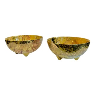 1960s Sascha Brastoff Gold Footed Bowls - a Pair For Sale