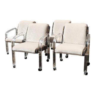 Lion in Frost Lucite Chairs - Set of 4 For Sale