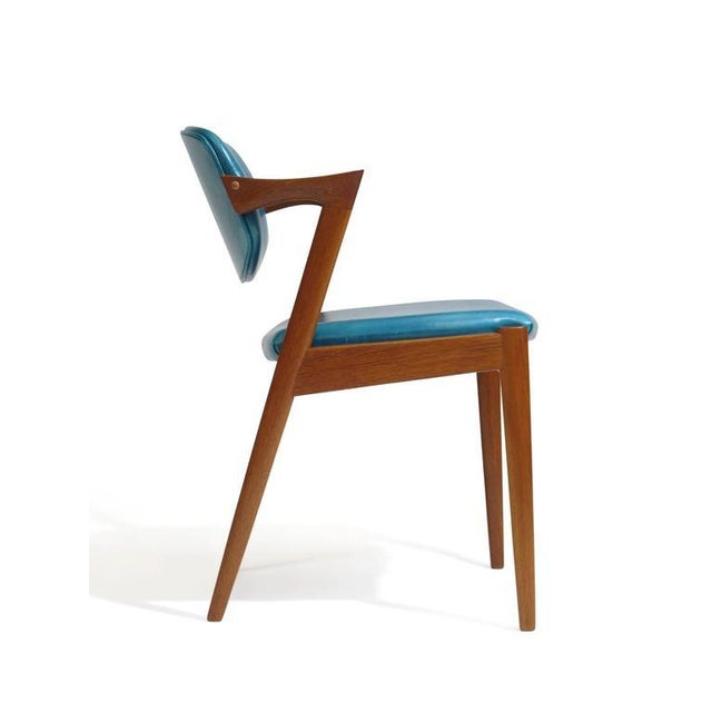 Six Kai Kristiansen Teak Danish Dining Chairs in Turquoise Leather, 20 Available For Sale - Image 9 of 11