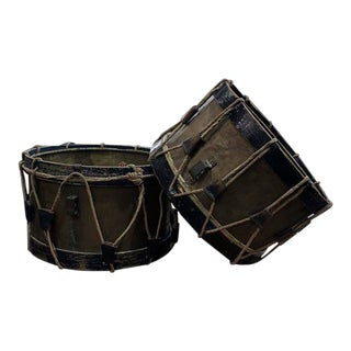 French Painted Drums - a Pair For Sale
