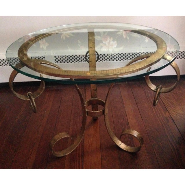 1970s Hollywood Regency Gilt Iron Scroll Base Glass Top Table For Sale - Image 4 of 8