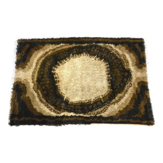 Swedish Brown Wool Shag Rug by Rya For Sale