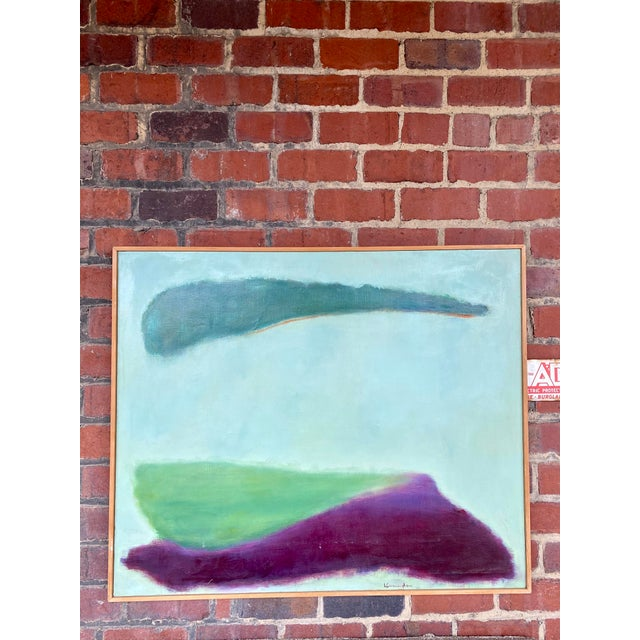 Canvas Mid-Century Modern Signed Abstract Painting For Sale - Image 7 of 7