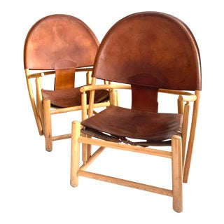 Werther Toffoloni Italian Modern Leather Lounge Chairs - a Pair For Sale