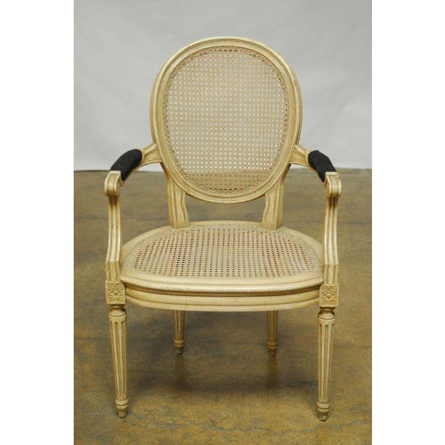 Black Louis XVI Style Cane Fauteuil Armchairs - Set of 5 For Sale - Image 8 of 10