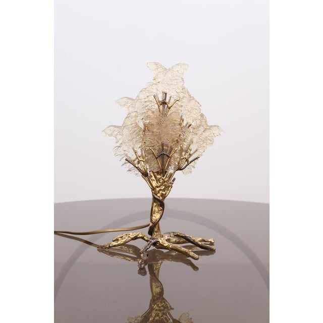 1970s Beautiful Unique Brass Tree Table Lamp by Henri Fernandez For Sale - Image 5 of 9