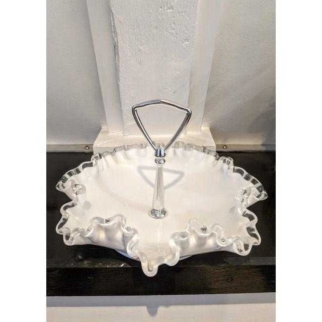 Mid-Century Modern Vintage 1950s Fenton Silver Crest Ruffle Edged Milk Glass Bon Bon Dish For Sale - Image 3 of 7