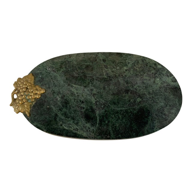 1990s Green Marble Footed Serving Board With a Brass Grapes Detail For Sale