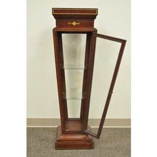 Burgundy Tooled Leather Glass Display Case Curio Stand Pedestal Maitland Smith Preview