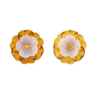 Trianon Amber Flower Chalcedony Citrine 18 Karat Gold Clip On Earrings For Sale