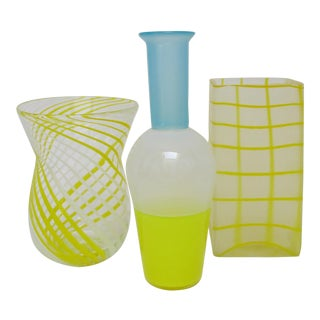 Blown Yellow Glass Vases - Set of 3 For Sale