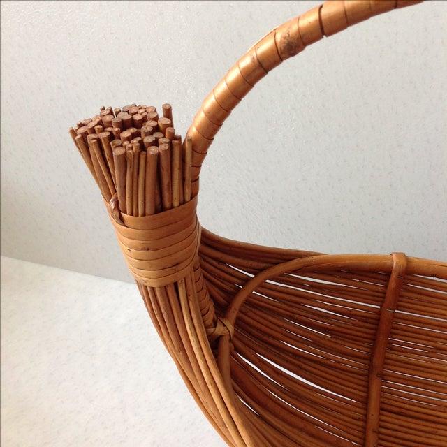 Vintage Handmade Wicker Rattan Basket For Sale In Chicago - Image 6 of 9