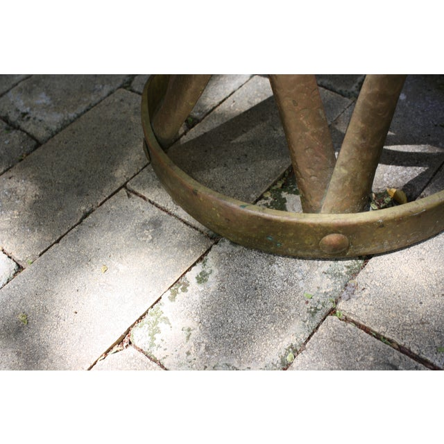 Mid-Century Hammered Brass Drum Table - Image 6 of 6