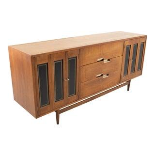 Merton Gershun for American of Martinsville Mid Century 9 Drawer Walnut Lowboy Dresser For Sale
