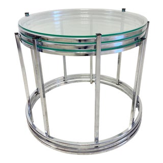 Vintage Milo Baughman Style Chrome Stacking Tables - Set of 3 For Sale