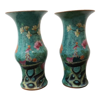 Late 19th Century Chinese Turquoise-Ground Famille Rose Porcelain Phoenix/Floral Motif Trumpet-Form Vases - a Pair For Sale