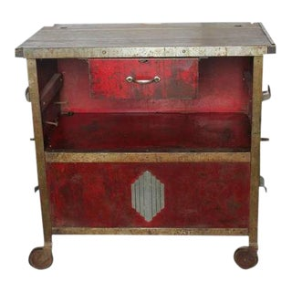 Art Deco Auto Shop Metal Cart/Bar Cart