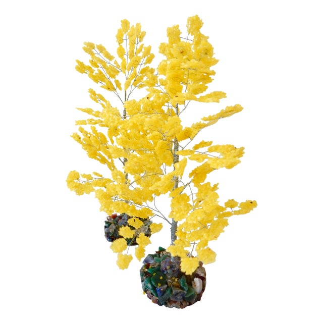 Yellow Quartz & Semi Precious Stone Trees - Pair - Image 1 of 8