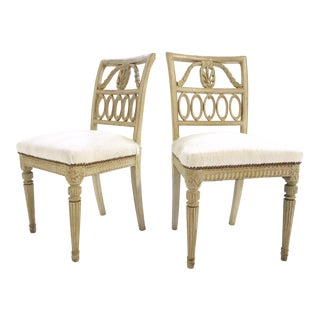 18th Century Swedish Painted Side Chairs Restored in Brazilian Cowhide - Pair For Sale