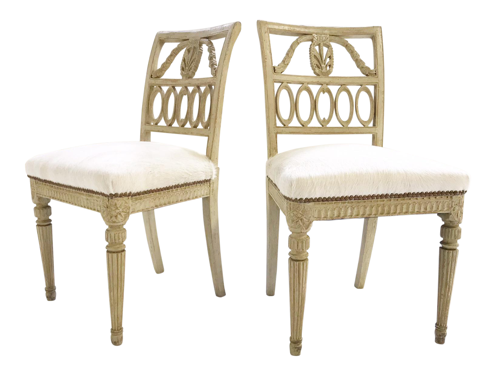 18th Century Swedish Painted Side Chairs Restored In Brazilian Cowhide Pair