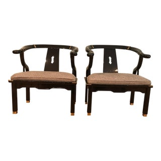 1960s Ming Century Furniture Black Lacquer Horseshoe Chairs - a Pair