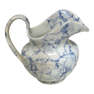 """Antique Blue and White """"Marble"""" Cream Pitcher For Sale"""