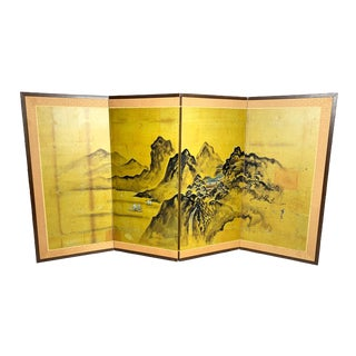 Vintage Large Mid Century Authentic Hand Painted and Signed 4 Panel Framed Japanese Mountainous Landscape Byōbu Artwork For Sale