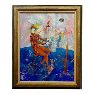 Luciano Spazzali - Harlequin Acrobat on a Venetian Landscape- Oil Painting For Sale