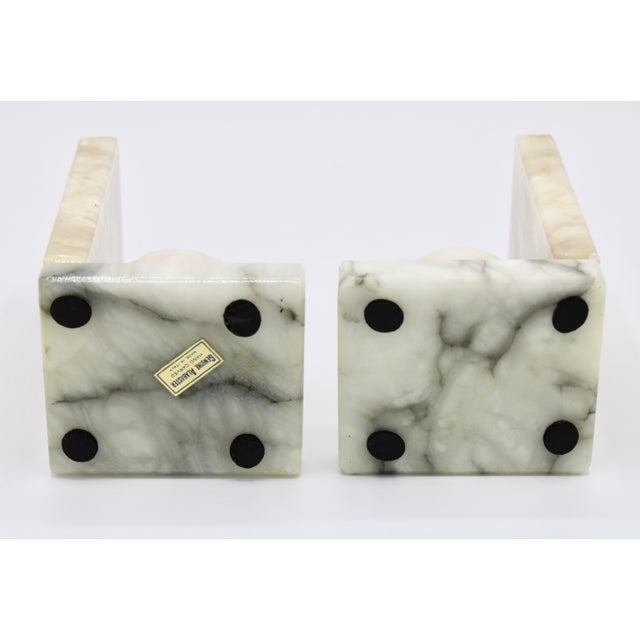 Stone Mid Century Italian Alabaster Baseball Bookends For Sale - Image 7 of 10