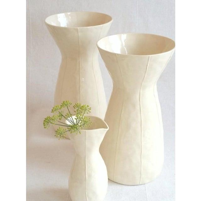 Contemporary White Ceramic Vase For Sale - Image 3 of 8