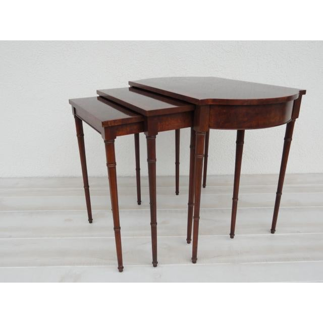 20th Century Traditional Baker Furniture Bamboo Style Nesting Tables - Set of 3 For Sale - Image 12 of 12