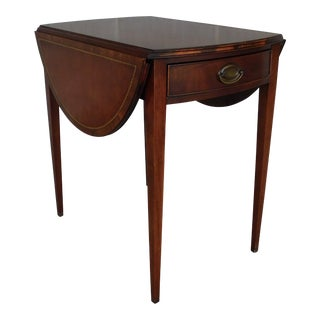 Henredon Heritage Mahogany Leather Top Drop Side Pembroke Table For Sale
