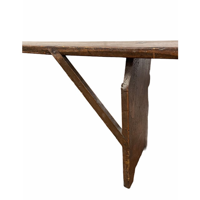Wood Early 20th Century Vintage Country Farmhouse Wood Bench For Sale - Image 7 of 11