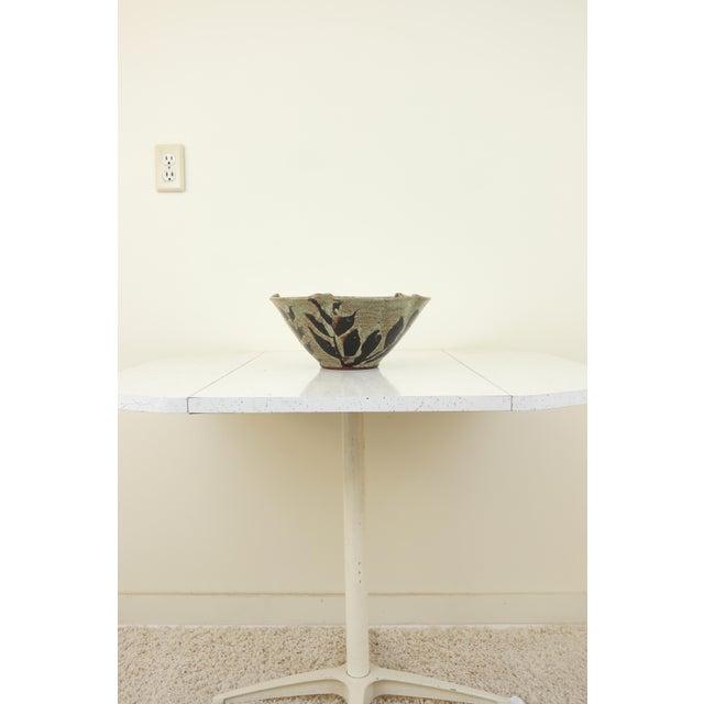 Large Hand Made Glazed Ceramic Decorative Bowl For Sale - Image 9 of 10