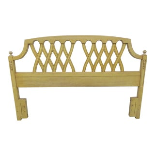 French Full Queen Size Painted Headboard by Basic Witz For Sale